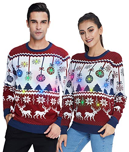 Unisex Ugly Chritsmas Sweater Women's Light Up Xmas Knit Sweatshirt Cute Long Sleeve Reindeer Jumper Clothing for Winter Spring Party Purple S