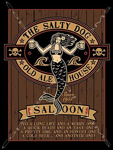 The Salty Dog Metal Sign: Pirate Decor Wall Accent