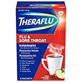 Theraflu Flu & Sore Throat Powder, Apple Cinnamon Flavor, 6 Packets