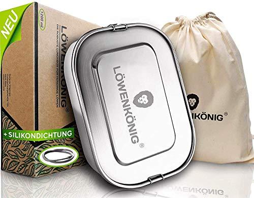 LÖWENKÖNIG® Lunch Box in Acciaio [1400ml[ Bento Box XL - Lunchbox in Acciaio, Contenitore Scatola per Il Pranzo a Prova di Perdite con Chiusura a Clip