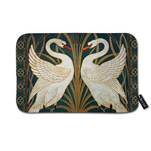 Tapis de bain en caoutchouc antidérapant Walter Crane Swan Rush and Iris Art Nouveau Tapis de bain pour sol de douche, salon et buanderie 39,9 x 59,9 cm