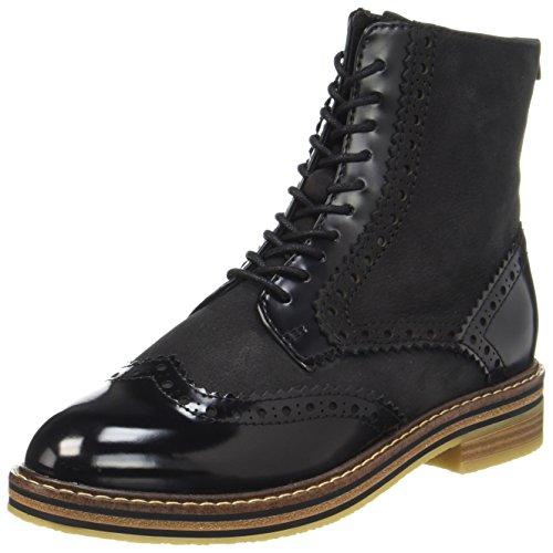 Marco Tozzi Lera 25256 Combat Boots, Schwarz, Brogue-Muster