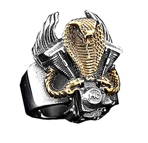 HIJONES Gótico Rey Serpiente Cobra Anillo Biker Guerrero para Hombre Acero Inoxidable Estilo Punk Oro Tamaño 14