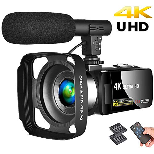Camcorder 4K Video Camera Vlogging Camera Recorder with Microphone 30MP 3' LCD Touch Screen Webcam Function 18X Digital Zoom YouTube Camera with Remote Control