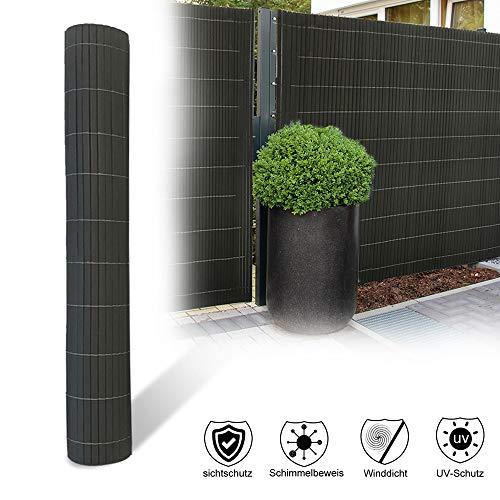 Aufun PVC Sichtschutzmatte, Sichtschutzzaun Sichtschutz Windschutz Gartenzaun für Garten Balkon Terrasse Außenbereich Swimming Pools - 180x400cm Anthrazit