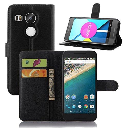 Ycloud Custodia Cover per LG (Google) Nexus 5X Portafoglio Tasca Book Folding Custodia In Pelle Con Supporto di Stand Cover Case Custodia Pelle Con Stilo Penna Nero