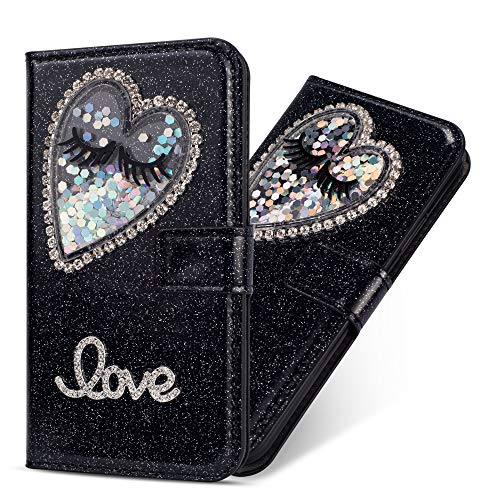 Miagon Hülle Glitzer für iPhone 6S / 6,Luxus Diamant Strass Herz PU Leder Handyhülle Ständer Funktion Schutzhülle Brieftasche Cover für iPhone 6S / 6,Schwarz