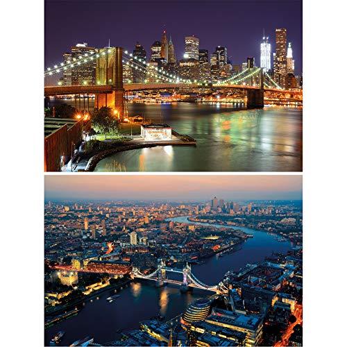 GREAT ART Juego de 2 carteles XXL – Motivo ciudades del mundo - Nueva York Puente de Brooklyn foto Londres decoración de pared póster ciudades de América e Inglaterra (140 x 100 cm)