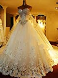 JYL Wedding Dress Bride Gown Bridesmaid Dress Deep Luo Crystal Bright Diamond Super Shiny Wedding Dress Floor Length Ivory/US:14 (4XL)