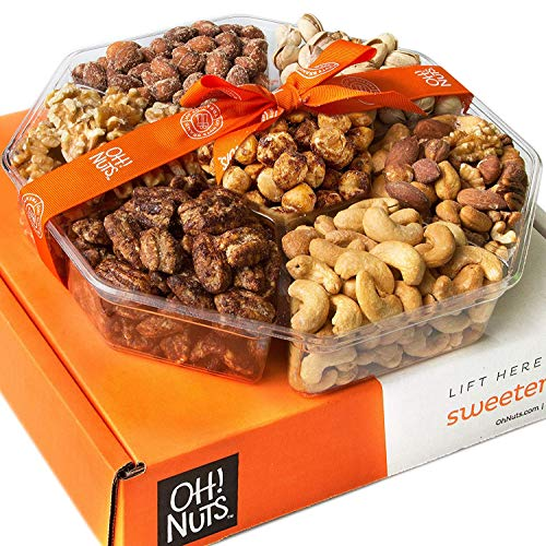 Oh! Nuts Holiday Gift Basket, 1LB Roasted Nut Variety Fresh Assortment Tray, Christmas Gourmet Food Prime Thanksgiving Delivery Idea for Men & Women Get Well Sympathy Fathers Mother & Valentines Day