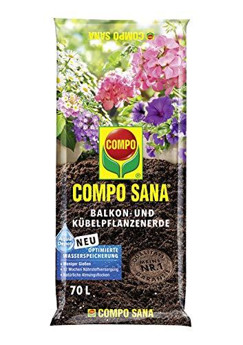 Compo SANA Balkon- und Kübelpflanzenerde mit 12 Wochen Dünger für alle Balkon- und Terrassenpflanzen, Kultursubstrat, 70 Liter