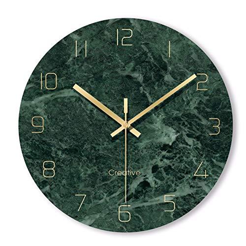 XJYA Wanduhr Quarz ohne Tickgeräusche Küchenuhr Marmor Textur Wanduhr aus Glas 30CM / 12 Zoll,F
