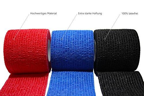 3 Stück selbsthaftende Bandagen/Fixierbinde/Verband/Wundverband/Pflasterverband/Tierverband - kohäsiv, latexfrei, elastisch - 5cm x 4,5m - TÜV-zertifiziert