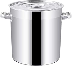 YWH-WH Large Stock Pot,Stainless Steel Pot Induction Cooking Pot,Professional Induction-Safe Stock Pot with Lid- Suitable ...