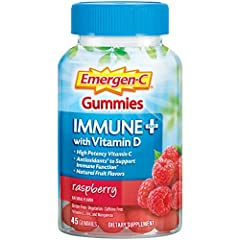 Includes one bottle of 45 Emergen-C Immune+ Vitamin Gummies in Raspberry flavor Emerge Fortified with Vitamins C, D and Zinc in a yummy, gummy vitamin Support your immune system with 750mg of Vitamin C per serving, plus Vitamin D and Zinc Emergen-C g...