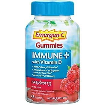 Emergen-C Immune+ Immune Gummies Vitamin D plus 750 mg Vitamin C Immune Support Dietary Supplement Caffeine Free Gluten Free Raspberry Flavor - 45 Count