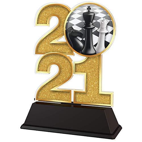 Trophy Monster Trofeo de Ajedrez 2021 de 85 mm de oro, plata o bronce   Hecho de acrílico impreso   Elige entre 4 tamaños