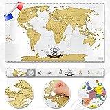 Scrape off World Map - Carte du monde à gratter - Carte mondiale en français - Taille XXL - Scratch Qualité supérieure