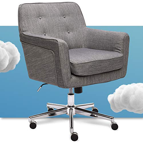 Serta Ashland Ergonomic Home Office Chair with Memory Foam Cushioning, Chrome-Finished Stainless Steel Base, 360-Degree Mobility, Gray (47140)