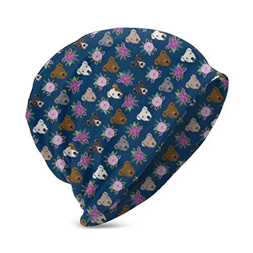 Zcfhike Pitbull Blumenkopf Design Pitbulls Blumen Hundekopf Schädelkappe Winter Beanie Hut für Jungen Mädchen