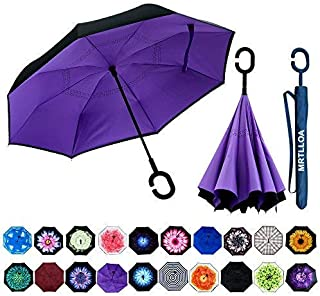 Double Layer Inverted Umbrella with C-Shaped Handle, Anti-UV Waterproof Windproof Straight Umbrella for Car Rain Outdoor Use