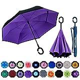 MRTLLOA Double Layer Inverted Umbrella with C-Shaped Handle, Anti-UV Waterproof Windproof Straight Umbrella for Car Rain Outdoor Use(Purple)