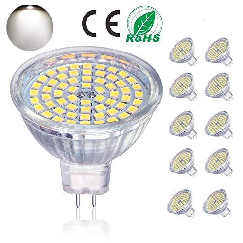 GU5.3 LED Lampen, MR16 LED Birne 5W entspricht 50W Halogenbirne,ACDC12V, 400LM, Tageslicht 4000K, nicht dimmbar, 120 ° Abstrahlwinkel, LED Strahler Schienenbirne, 10 Packungen [Energieklasse A +]