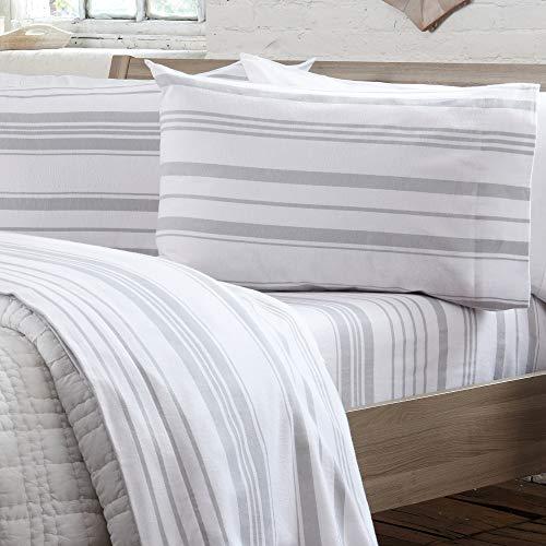 4 Piece Extra Soft 100% Turkish Cotton Heavyweight Flannel Sheet Set. Warm, Cozy, Luxury Winter Deep Pocket Bed Sheets. Raye Collection (Full, Soft Grey - Stripe)