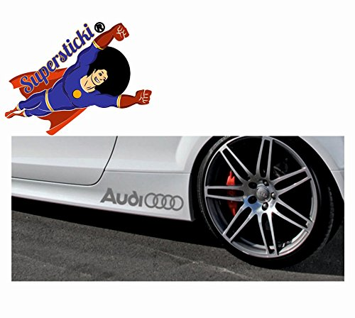 SUPERSTICKI® 2xAudi+Ringe 30 cm Tuning Sticker aus SUPERSTICKI® Vinyl UV- und waschanlagenfest, selbstklebend, Schweller
