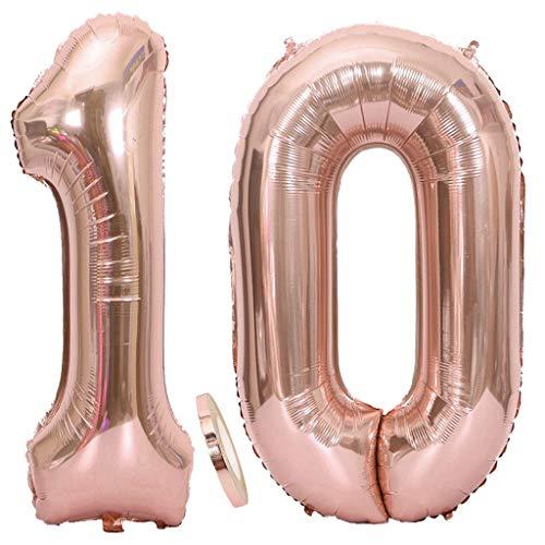 2 Globos Número 10 Oro Rosa, Globo de Papel Aluminio Gigante Numero 10 Globo 100cm con Cinta 40