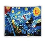 Tapisserie Murales, Résumé Hippie Psychédélique Wall Hanging Tapestry Bohème Bleu Nuit Étoilée, L'Homme De L'Art D'Impression Rectangulaire Décoration Tissu Pour Salon Chambre À Coucher