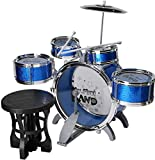 DBAF Kids Electronic Drum Kit,Children's Drums Birthday Gift Jazz Drums Drums Creative Toys Set Five Drums Plus Foot Toys Music Toys Beginner Boys 3-6 Years Old (Color : Blue) Beginners Drum Kit Set