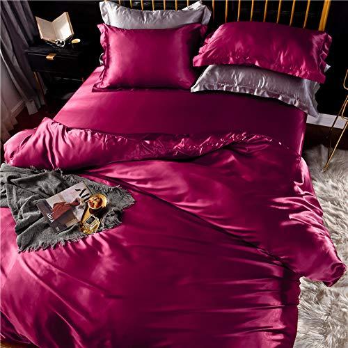 Bedding-LZ Juego de Fundas de edredón 135x200cm,Lavado de Doble Cara Lavado Seda Slide Quilt Set de Cuatro Piezas-1,8 m de Cama (4 Piezas)_mi