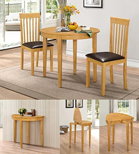 HGG Dining Table Set with 2 Chairs - Rubberwood Furniture - Small Table and 2 Chairs - Kitchen Table and 2 Chairs - Extending Dining Table - Small Round Table