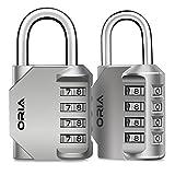 ORIA Candados de Combinación, 2Pcs Candado de Seguridad con Combinaciones de 4 Dígitos, Reajustable y Impermeable, Ideal para Locker de Gimnasia Escol