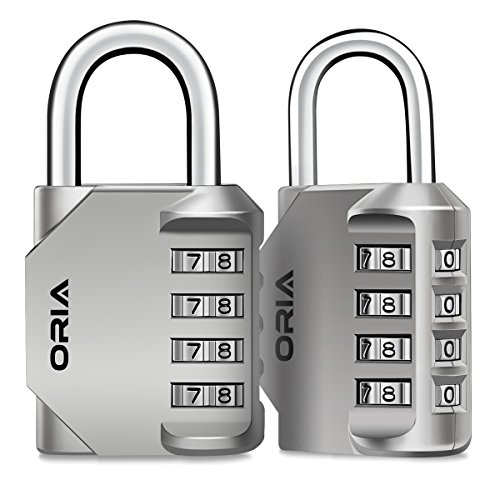 Oria 2 Pack Combination Lock, 4 Digit Padlocks, Resettable Security Locks, Anti Rust and Waterproof for School, Employee, Gym & Sports Locker, Toolbox, Filing Cabinets etc.- Silver