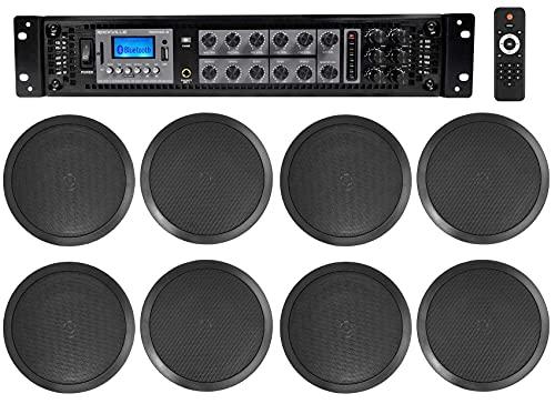 Rockville 6-Zone 70v Amplifier+(8) 8' 2-Way Black Ceiling Speakers 4 Restaurant