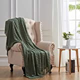SunStyle Home Throw Blanket for Couch Sofa Bed, Decorative Knitted Blanket(50x60inch) with Tassels, Soft Lightweight Cozy Woven Textured Solid Throw Blanket for All Seasons, Olive Green