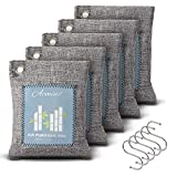 Acmind Bamboo Charcoal Air Purifying Bag 5 Pack (5 x 200g with 5 Hooks), Natural Freshener Removes Odor & Moisture, Activated Charcoal Bags Odor Absorber for Home & Car