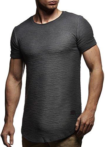 Leif Nelson Herren Sommer T-Shirt Rundhals-Ausschnitt Slim Fit Baumwolle-Anteil Moderner Männer T-Shirt Crew Neck Hoodie-Sweatshirt Kurzarm lang LN6324 Anthrazit L
