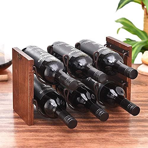 MUZIDP Titular de Vino Decoración del hogar Doble Estante de Vino Rack Continental Botella de Vino Cooler 6 se Pueden Colocar Adornos