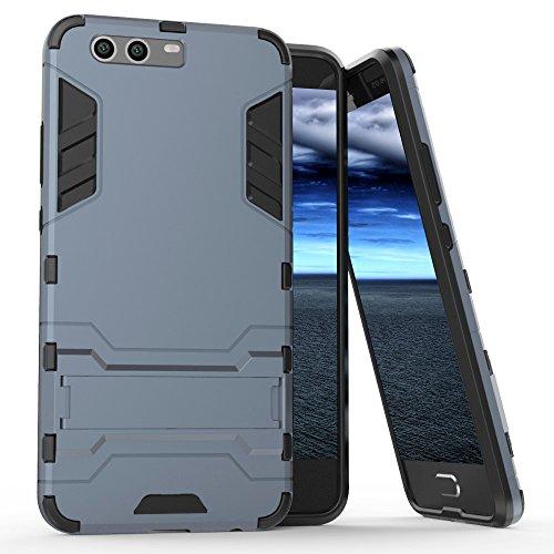 MYCASE bescherming mobiele telefoon hoes voor Huawei P10 | hybride cover TPU plastic | kunststof kickstand | Outdoor | donkerblauw | schaal bumper tas cover case armor back