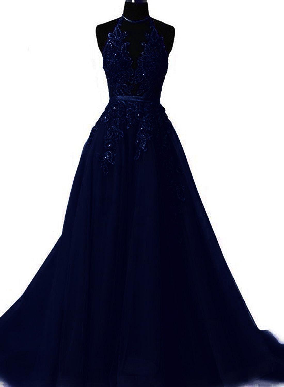 Fanciest Mail order Women's Halter Prom Dresses 2021 Max 79% OFF Long Appliques Backles