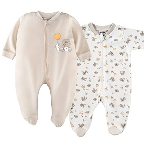 Jacky - Pijamas bebé Manga Larga con pies - 2 Ud. - 100% algodón / Certificado Oeko-Tex / Unisex / Beige - Blanco con Ositos (50-56)