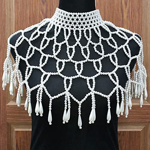 Cadena de Hombro Collar de mantón de Perlas Cadena de Cuerpo Cuello de Cuentas Sexy Hombro Sujetador de Perlas Vestido de Novia de Cadena de suéter Superior, Blanco,Blanco