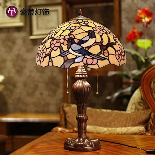 Factory Direct - Lámpara de noche de 16 pulgadas, diseño retro de Tifani, lámpara de noche mágica, plum, flor para sala de bodas, luz de cristal decorativa