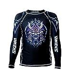 SKAWA Mens Samurai No Gi Long Sleeve Rashguard MMA Shirt BJJ Rash Guard for Men Black