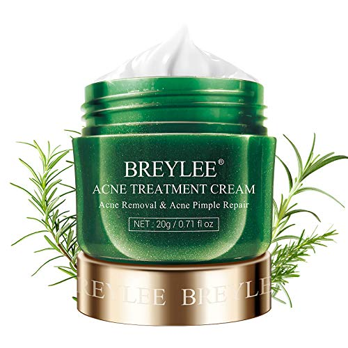 Crema para tratamiento de acné, BREYLEE Tea Tree Oil Acné Cream para limpiar acné severo, romper, quitar espinillas y reparar la piel (0.7fl oz, 0.7 oz)