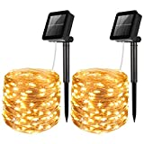 AMIR Upgraded Solar String Lights, Mini 100 LED Copper Wire Lights, Waterproof Starry Lights, Indoor Outdoor Solar Decoration Lights for Patios, Home, Parties, Halloween (Warm White - Pack of 2)