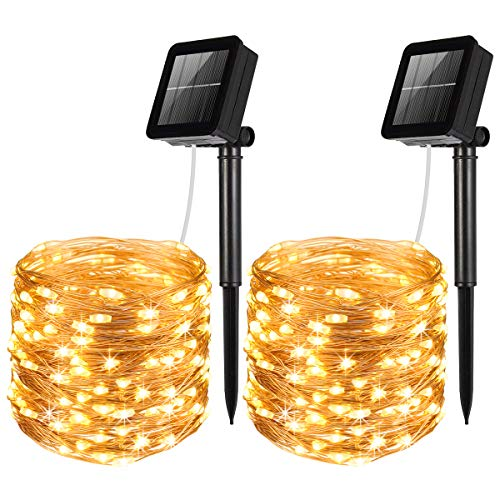 AMIR Solar Powered String Lights, Mini 100 LED Copper Wire Lights, Waterproof Starry String Lights, Indoor Outdoor Solar Decoration Lights for Gardens, Patios, Homes, Parties (Warm White - Pack of 2)